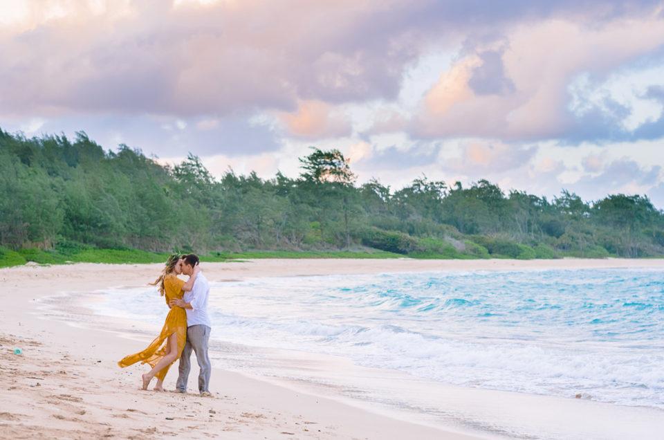 North Shore Oahu Hawaii Engagement Session | Hukilau Beach | Amanda & Ben