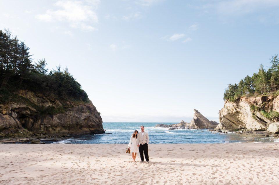 Shore Acres Engagement Photos | Adventure Session Coos Bay | Shaminy & Jason
