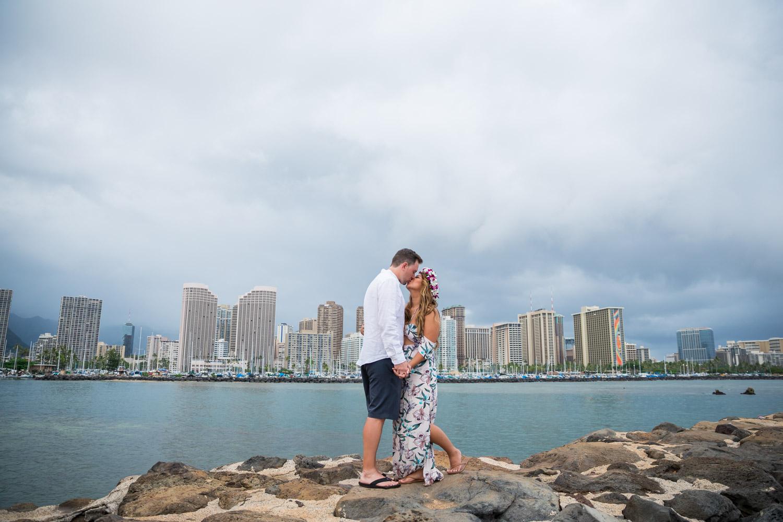 waikiki-wedding-photographer Magic Island Engagement Photos   Waikiki Hawaii Wedding   Jennifer & Morgan